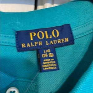 Turquoise shirt sleeve collared Polo
